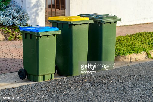 Kerbside bins ready for collection : Stock Photo