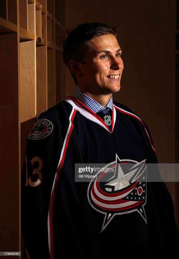 Kerby Rychel, 19th pick overall by the Columbus Blue Jackets, poses for a portrait during the 2013 NHL Draft at Prudential Center on June 30, 2013 in Newark, New Jersey.