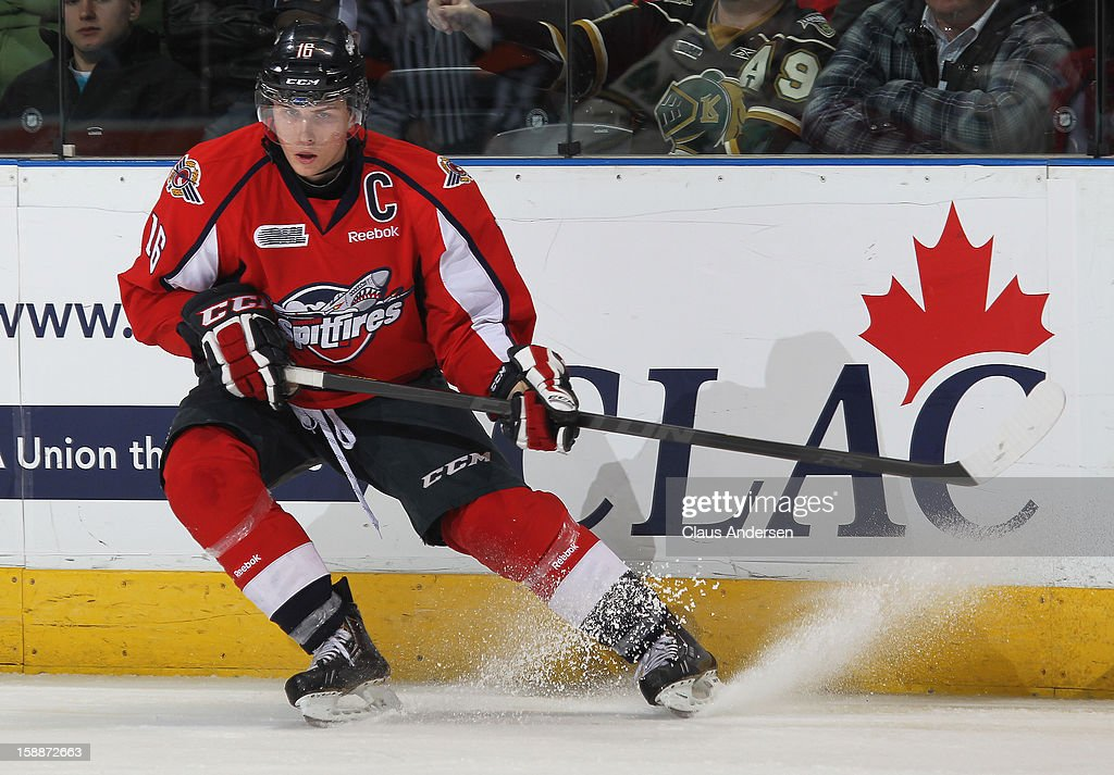 Kerby Rychel #16 of the Windsor Spitfires skates in an OHL game against the London Knights on December 27, 2012 at the Budweiser Gardens in London, Canada. The Knights defeated the Spitfires 9-4 to extend their winning streak to 22 games.