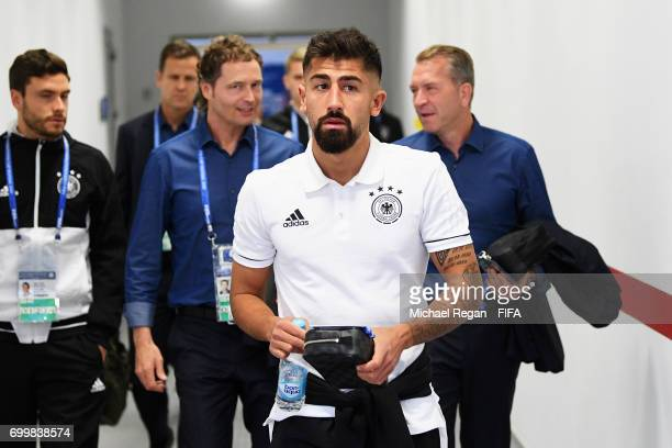 Kerem Demirbay arrives at the stadium prior to the FIFA Confederations Cup Russia 2017 Group B match between Germany and Chile at Kazan Arena on June...