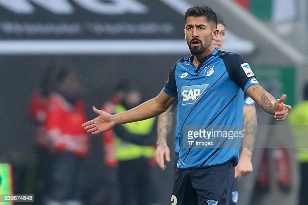 Kerem Demirbay of 1899 Hoffenheim gestures during the Bundesliga match between FC Augsburg and TSG 1899 Hoffenheim at WWK Arena on January 21 2017 in...