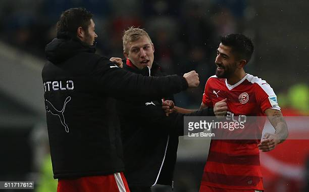 Kerem Demirbay of Duesseldorf celebrates after scoring his teams first goal during the Second Bundesliga match between Fortuna Duesseldorf and 1 FC...
