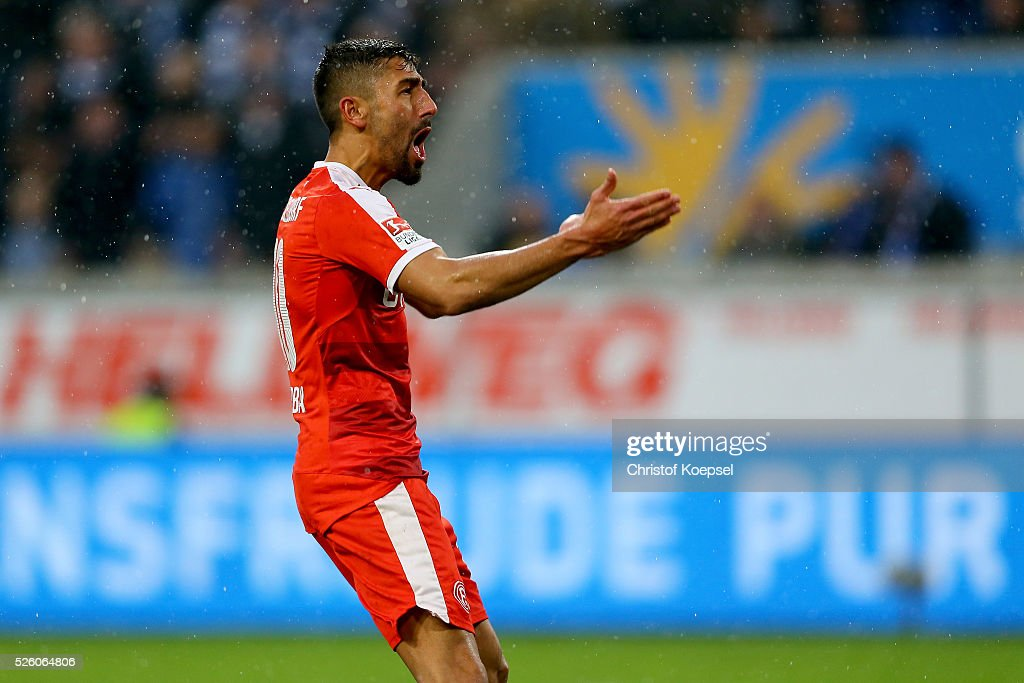 Kerem Demirbay of Duesseldorf celebrates the first goal during the 2. Bundesliga match between MSV Duisburg and Fortuna Duesseldorf at Schauinsland-Reisen-Arena on April 29, 2016 in Duisburg, Germany.