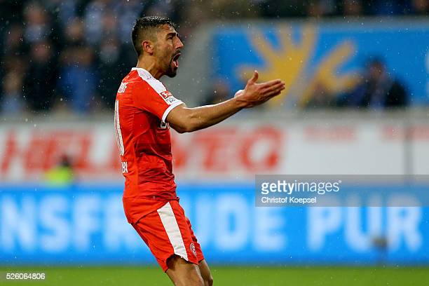 Kerem Demirbay of Duesseldorf celebrates the first goal during the 2 Bundesliga match between MSV Duisburg and Fortuna Duesseldorf at...