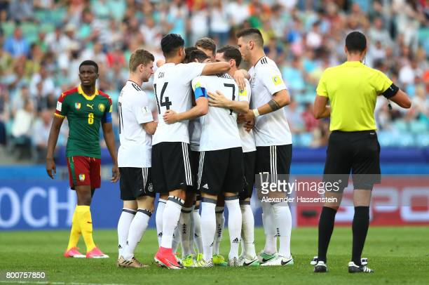Kerem Demirbay of ermany celebrates scoring his sides first goal with his Germany team mates during the FIFA Confederations Cup Russia 2017 Group B...