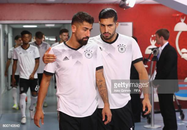 Kerem Demirbay of Germany and Emre Can of Germany walk out of the tunnel to warm up prior to the FIFA Confederations Cup Russia 2017 Group B match...