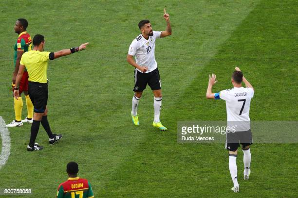 Kerem Demirbay of Germany celebrates scoring his sides first goal with Julian Draxler of Germany during the FIFA Confederations Cup Russia 2017 Group...