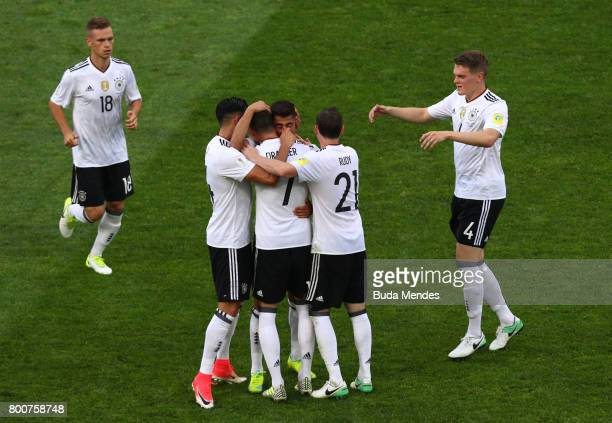 Kerem Demirbay of Germany celebrates scoring his sides first goal with his Germany team mates during the FIFA Confederations Cup Russia 2017 Group B...