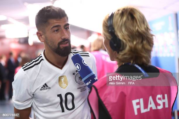 Kerem Demirbay of Germany speaks to the media after the FIFA Confederations Cup Russia 2017 Group B match between Germany and Cameroon at Fisht...