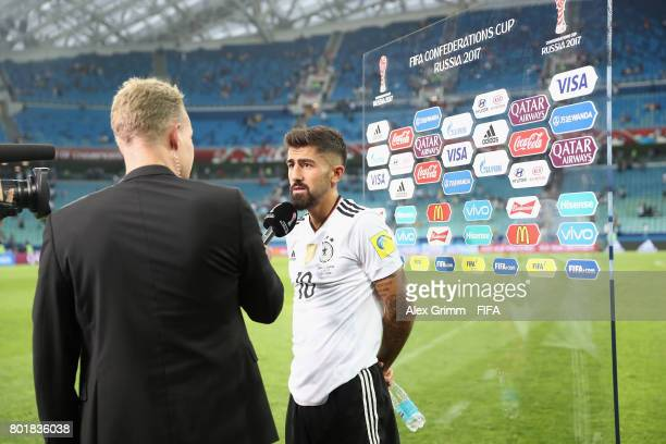 Kerem Demirbay of Germany talks to journalists after the FIFA Confederations Cup Russia 2017 Group B match between Germany and Cameroon at Fisht...