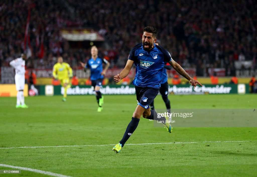Kerem Demirbay of Hoffenheim celebrates after he scores the equalizing goal during the Bundesliga match between 1. FC Koeln and TSG 1899 Hoffenheim at RheinEnergieStadion on April 21, 2017 in Cologne, Germany.