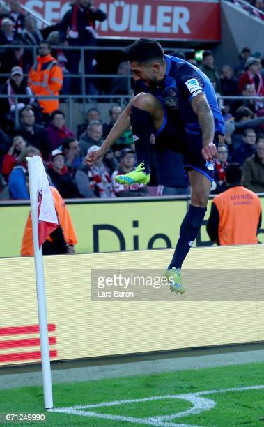 Kerem Demirbay of Hoffenheim celebrates after he scores the equalizing goal during the Bundesliga match between 1 FC Koeln and TSG 1899 Hoffenheim at...