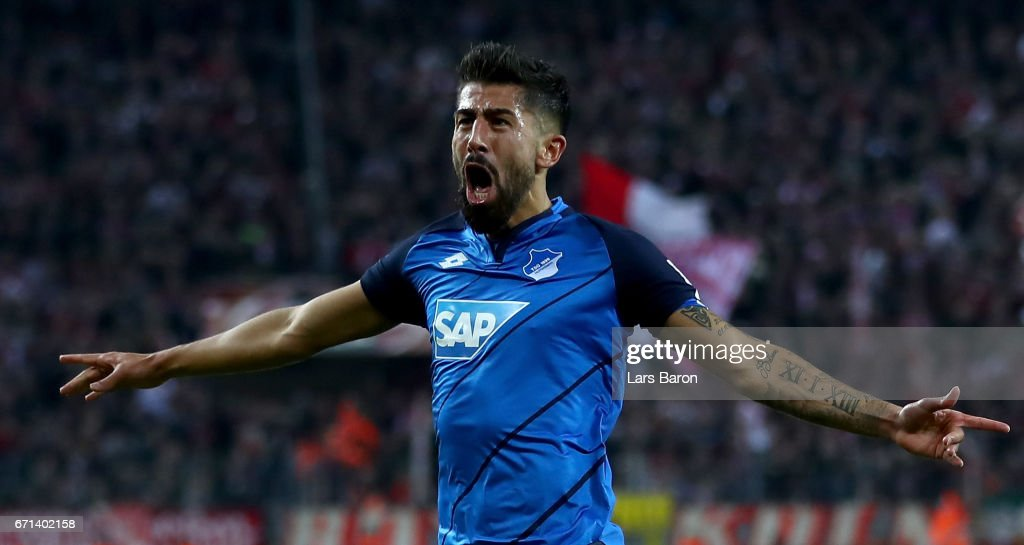 Kerem Demirbay of Hoffenheim celebrates after scoring his teams first goal during the Bundesliga match between 1. FC Koeln and TSG 1899 Hoffenheim at RheinEnergieStadion on April 21, 2017 in Cologne, Germany.