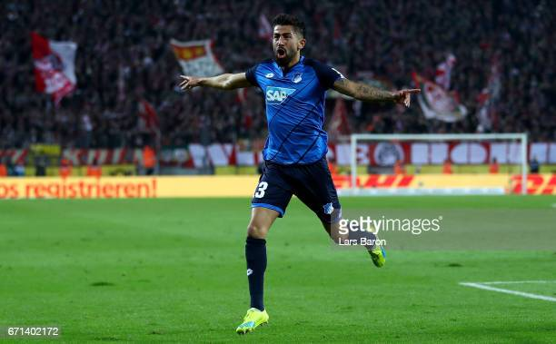 Kerem Demirbay of Hoffenheim celebrates after scoring his teams first goal during the Bundesliga match between 1 FC Koeln and TSG 1899 Hoffenheim at...
