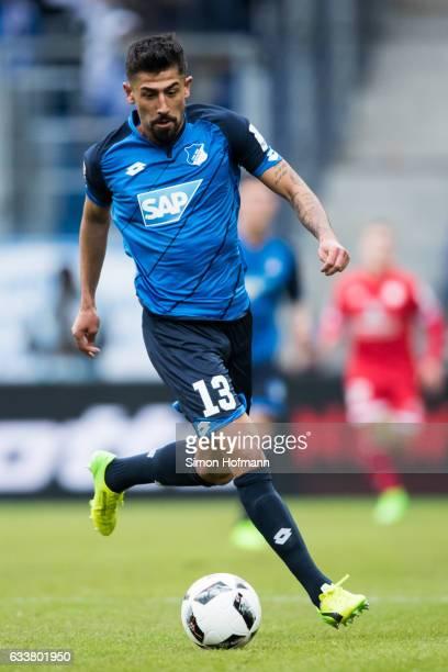 Kerem Demirbay of Hoffenheim controls the ball during the Bundesliga match between TSG 1899 Hoffenheim and 1 FSV Mainz 05 at Wirsol RheinNeckarArena...