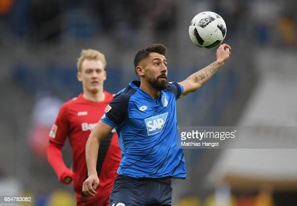 Kerem Demirbay of Hoffenheim controls the ball during the Bundesliga match between TSG 1899 Hoffenheim and Bayer 04 Leverkusen at Wirsol...