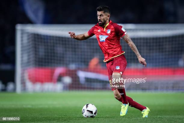 Kerem Demirbay of Hoffenheim controls the ball during the Bundesliga match between Hertha BSC and TSG 1899 Hoffenheim at Olympiastadion on March 31...