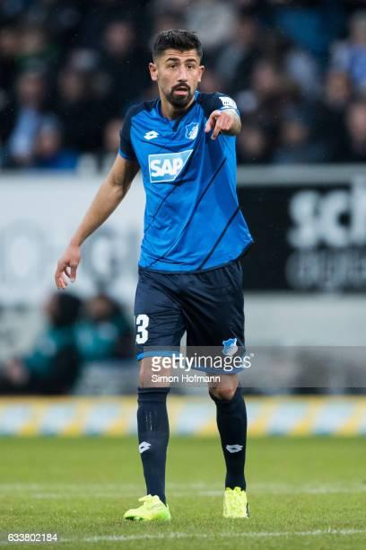 Kerem Demirbay of Hoffenheim gestures during the Bundesliga match between TSG 1899 Hoffenheim and 1 FSV Mainz 05 at Wirsol RheinNeckarArena on...