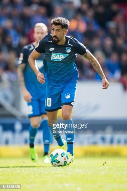 Kerem Demirbay of Hoffenheim in action during the Bundesliga match between TSG 1899 Hoffenheim and Hertha BSC at Wirsol RheinNeckarArena on September...