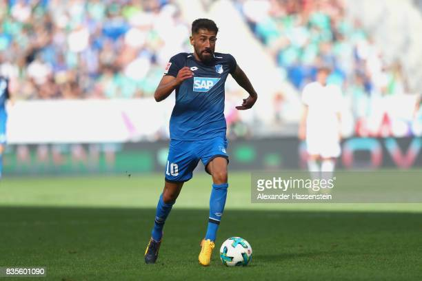 Kerem Demirbay of Hoffenheim runs with the ball during the Bundesliga match between TSG 1899 Hoffenheim and SV Werder Bremen at Wirsol...
