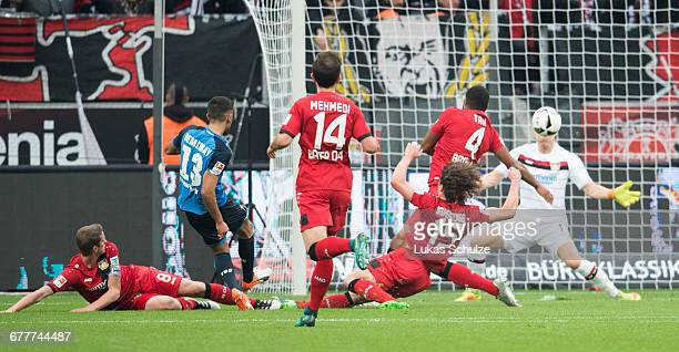 Kerem Demirbay of Hoffenheim scores his team's first goal during the Bundesliga match between Bayer 04 Leverkusen and TSG 1899 Hoffenheim at BayArena...
