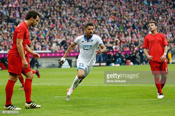 Kerem Demirbay of TSG Hoffenheim celebrates after scoring his team's first goal during the Bundesliga match between Bayern Muenchen and TSG 1899...