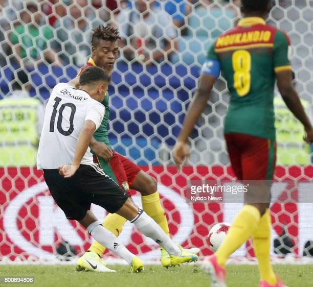 Kerem Demirbay scores Germany's opening goal during the second half of a Group B match against Cameroon at the Confederations Cup in Sochi Russia on...