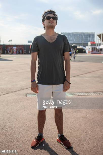 Kerem is wearing All Saints tshirt ted Baker short Adidas sneakers Chroma sunglasses and Ralph Lauren headband during Primavera Sound 2017 on June 2...