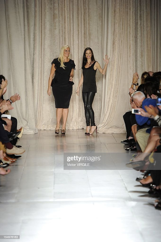 Keren Craig and Georgina Chapman walk the runway at the Marchesa Spring Summer 2013 fashion show during New York Fashion Week on September 12, 2012 in New York, United States.