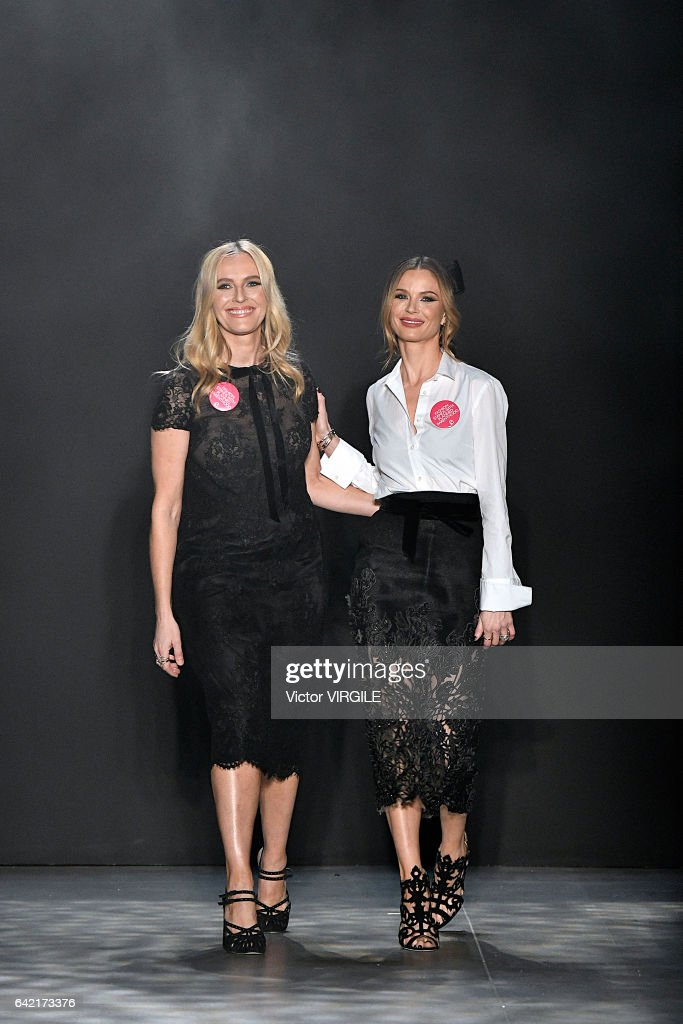 Keren Craig and Georgina Chapman walk the runway at the Marchesa Ready to Wear Fall Winter 2017-2018 fashion show during New York Fashion Week on February 15, 2017 in New York City.