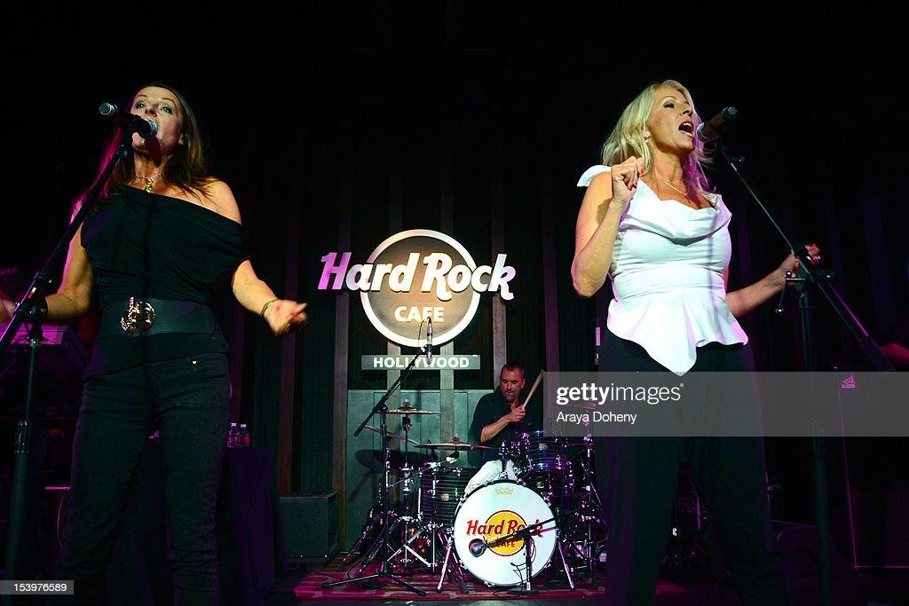 Keren Woodward and Sara Dallin of Bananarama perform at the Hard Rock Cafe's 13th Annual 'PINKTOBER' breast cancer awareness campaign featuring...