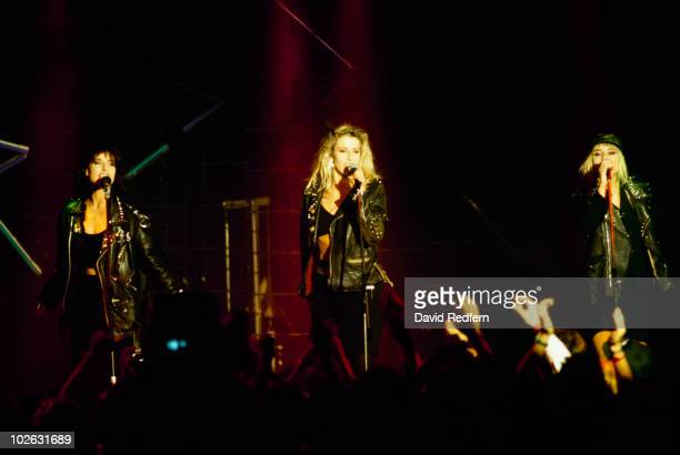 Keren Woodward Sara Dallin and Siobhan Fahey of Bananarama perform on stage at the Montreux Rock Festival held in Montreux Switzerland in May 1984