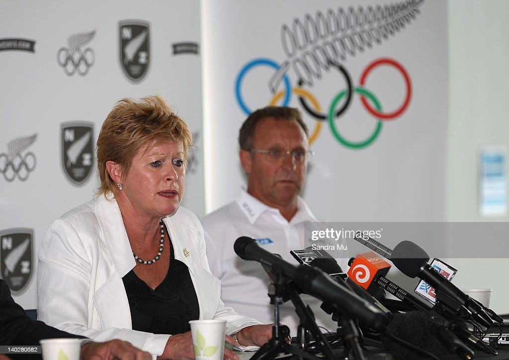 Kereyn Smith, Secretary General and selector of the New Zealand Olympic Committee (L) and Alan Cotter, Rowing High Performance manager speak during a press conference to announce the New Zealand 2012 rowing team at Lake Karapiro on March 2, 2012 in Cambridge, New Zealand.