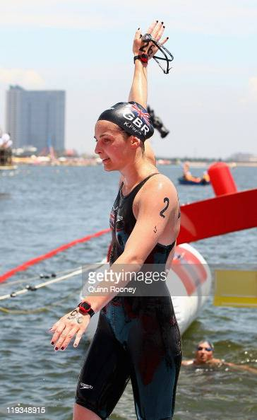 Keri Anne Payne of Great Britain celebrates winning the Women's Open Water 10km during Day Four of the 14th FINA World Championships at the Jinshan...