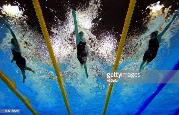Keri Anne Payne Rebecca Adlington and Hannah Miley of Great Britain race in the Womens 800m heats during day six of the British Gas Swimming...