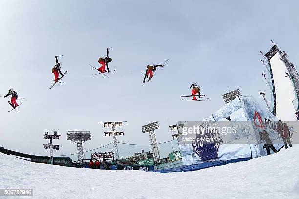 Keri Herman competes in the qualifying round during Polartec Big Air at Fenway Day 2 at Fenway Park on February 12 2016 in Boston Massachusetts