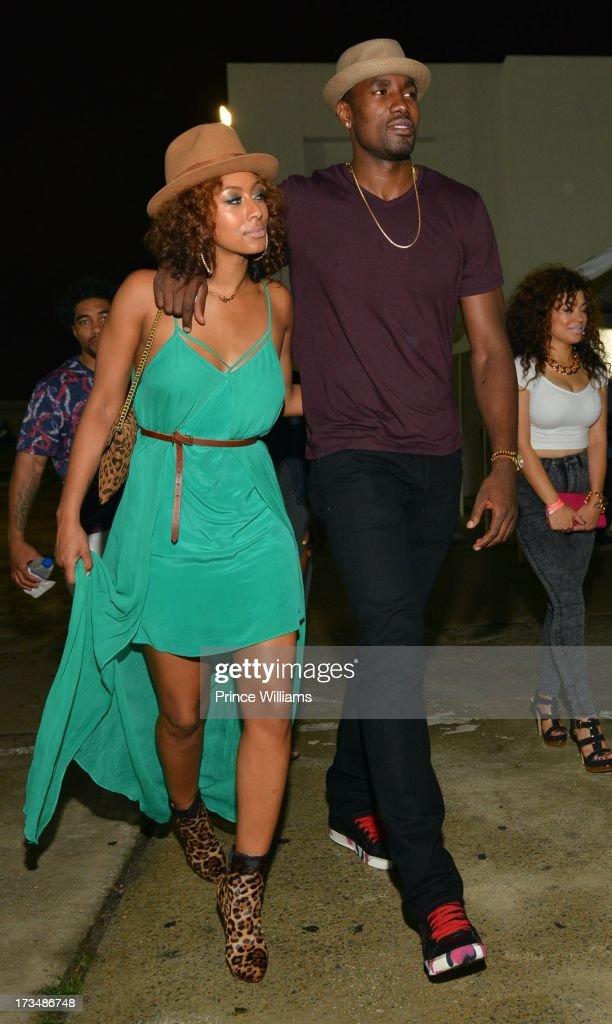 Keri Hilson and Serge Ibaka attend compound Nightclub on July 13 2013 in Atlanta Georgia