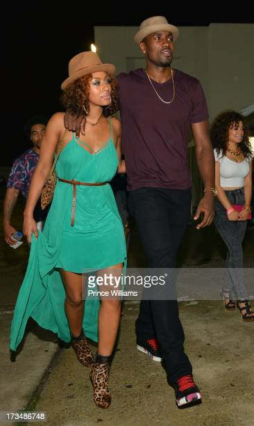 Keri Hilson and Serge Ibaka attend compound Nightclub on July 13 2013 in Atlanta Georgia