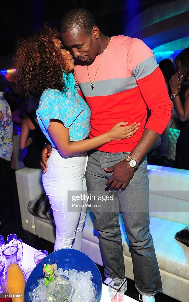 Keri Hilson and Serge Ibaka attend party hosted by Fabolous and Cassie at Prive on June 21, 2013 in Atlanta, Georgia.