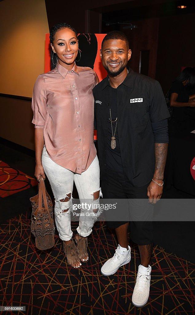 Keri Hilson and Usher Raymond attend 'Hands Of Stone' Atlanta Screening at AMC Phipps Plaza on August 17 2016 in Atlanta Georgia
