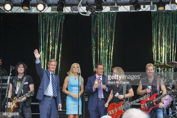 Keri Kelli Steve Doocy Anna Kooiman Brian Kilmeade Jack Blades and Brad Gillis are seen on stage during the 'FOX Friends' All American Concert Series...