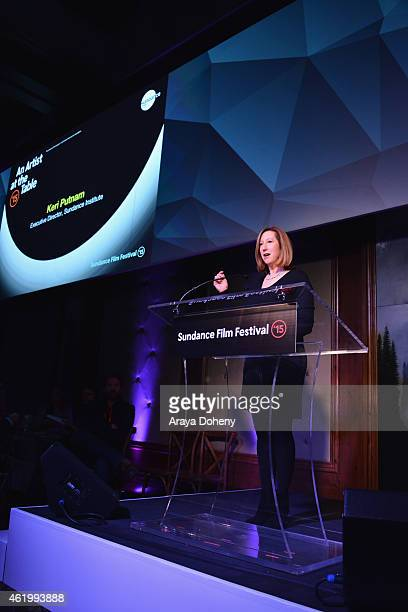 Keri Putnam Executive Director Sundance speaks onstage at the An Artist At The Table Dinner Program during the 2015 Sundance Film Festival on January...