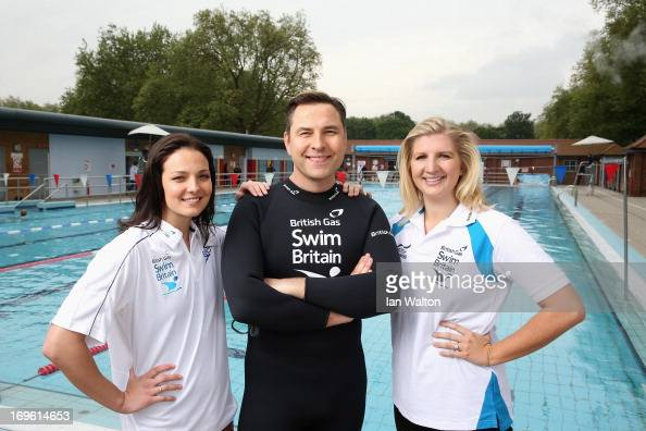 KeriAnne Payne David Walliams and Rebecca Adlington during the launch of the British Gas SwimBritain at London Fields Lido on May 29 2013 in London...