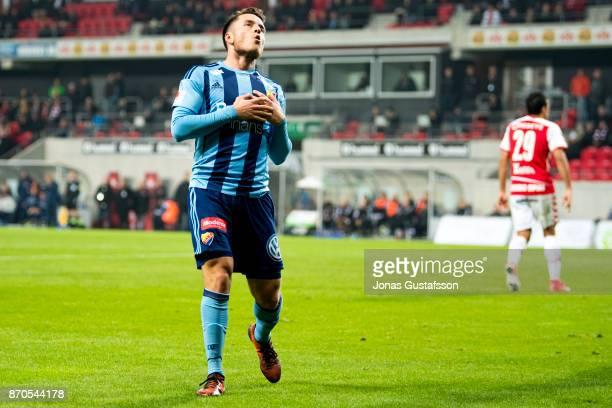 Kerim Mrbati of Djurgardens IF dejected during the allsvenskan match between Kalmar FF and Djurgarden IF at Guldfageln Arena on November 5 2017 in...
