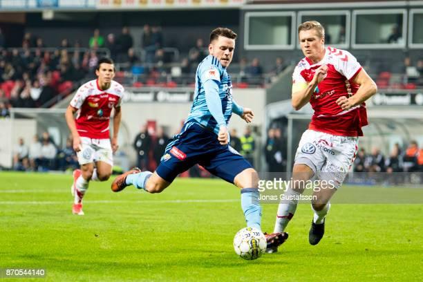 Kerim Mrbati of Djurgardens IF running with the ball during the allsvenskan match between Kalmar FF and Djurgarden IF at Guldfageln Arena on November...