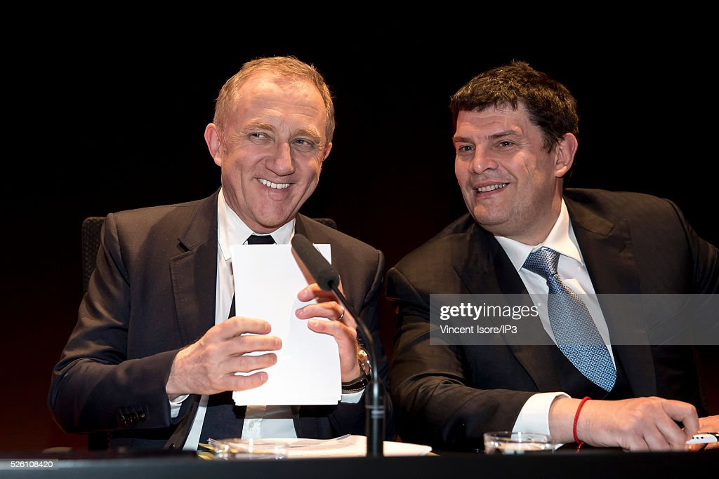 Kering CEO Francois Henri Pinault (L), Kering CFO Jean Francois Palus (R) during the general shareholders meeting of the French luxury and sports clothing group Kering on April 29, 2016 in Paris, France. Kering suffered by low Gucci sales and is the last of the CAC 40 (PARIS STOCK INDEX).