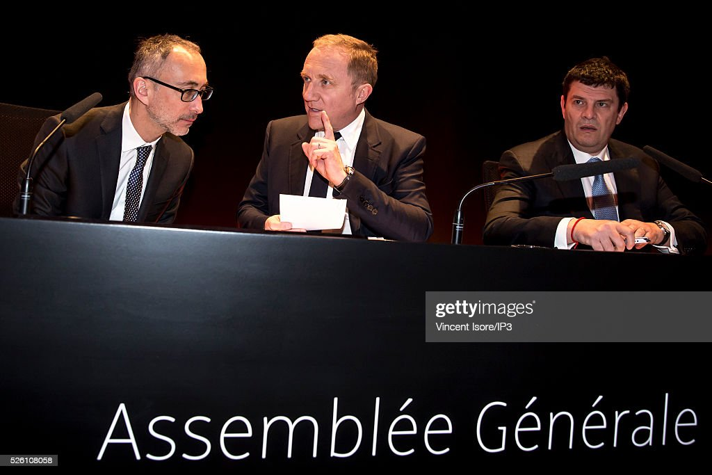 Kering Legal director Eric Sandrin (L) speaks with Kering CEO Francois Henri Pinault (C), Kering CFO Jean Francois Palus (R) during the general shareholders meeting of the French luxury and sports clothing group Kering on April 29, 2016 in Paris, France.