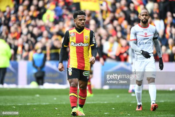 Kermit Erasmus of Lens during the French Ligue 2 match between Lens and Valenciennes at Stade BollaertDelelis on February 25 2017 in Lens France