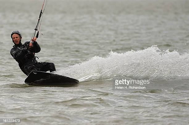Kermit Lohry of Boulder gets some speed going while he kite surfs on Boulder reservoir He has been kite surfing for 12 years Boulder Reservoir was...