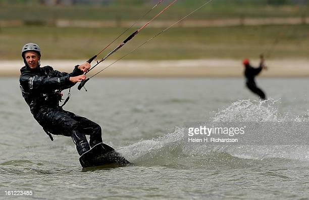 Kermit Lohry of Boulder gets some speed while he kite surfs on Boulder reservoir He has been kite surfing for 12 years Boulder Reservoir was chock...